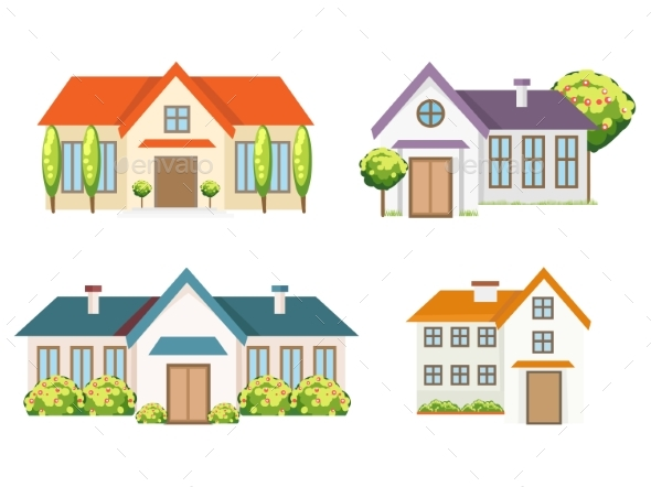 Colorful Residential Houses Collection - Buildings Objects