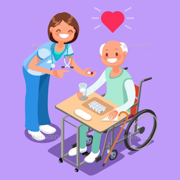Nurse with Patient in Hospital Isometric People Cartoon Vector - Vectors