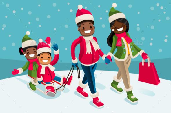 Winter Family Vacations Isometric People Black Cartoon Character - Vectors