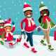 Winter Family Vacations Isometric People Black Cartoon Character