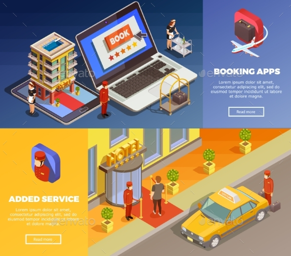 Isometric Infographic Booking Banners - Technology Conceptual