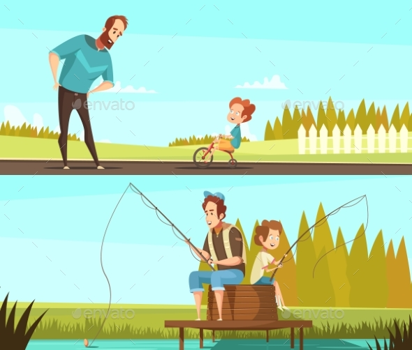 Fatherhood 2 Retro Cartoon Banners - Landscapes Nature