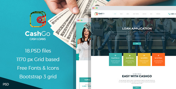 CashGo - Fast Loan Financial Company PSD Template