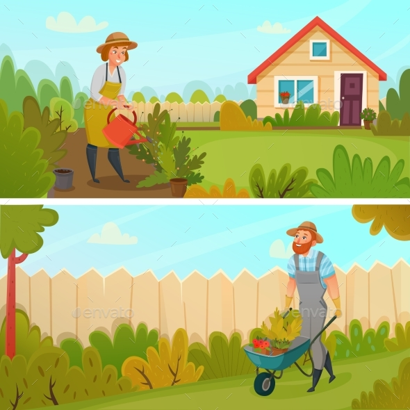 Gardening Banner Set - Landscapes Nature
