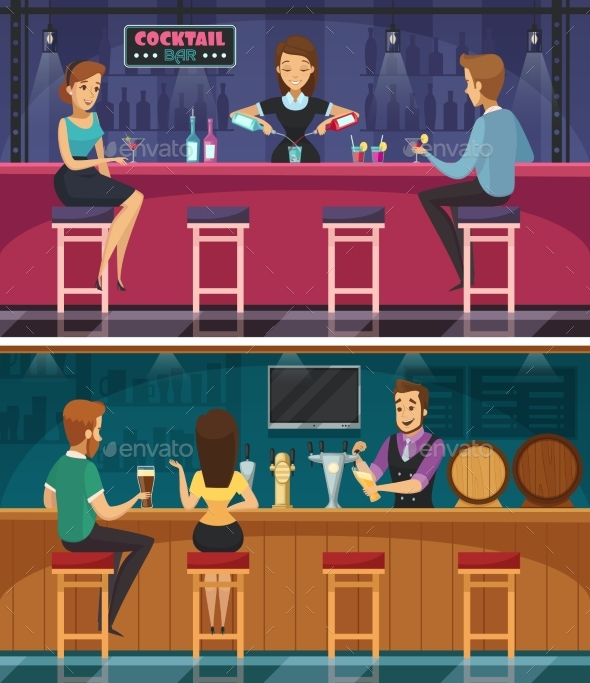 Cocktail Bar Cartoon Horizontal Banners - Backgrounds Decorative