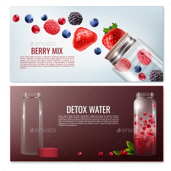 Detox Beverages Horizontal Banners - Food Objects