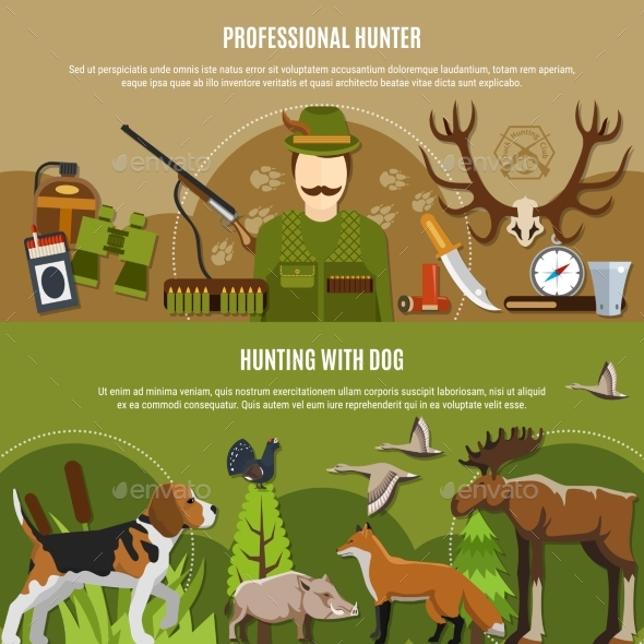 Professional Hunter Banners Set - Sports/Activity Conceptual