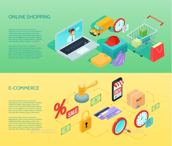 Shopping Ecommerce Banner Horizontal Isometric - Business Conceptual