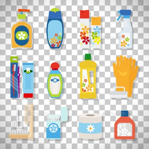 Hygiene Flat Icons on Transparent Background - Health/Medicine Conceptual
