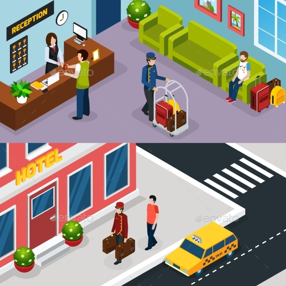 Hotel Service Isometric Banner Set - Business Conceptual