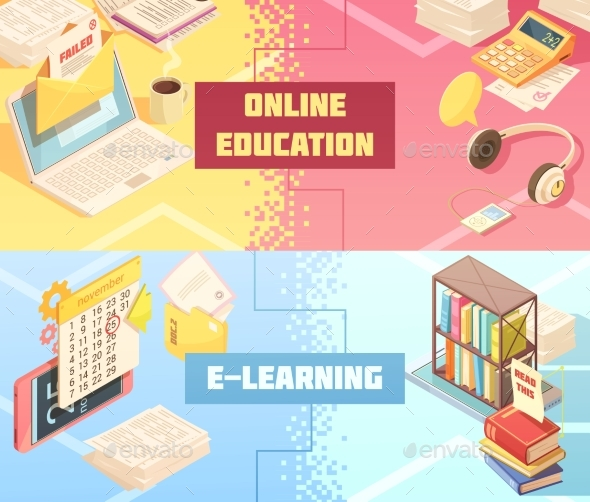 Online Education Horizontal Isometric Banners - Miscellaneous Vectors
