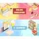 Online Education Horizontal Isometric Banners