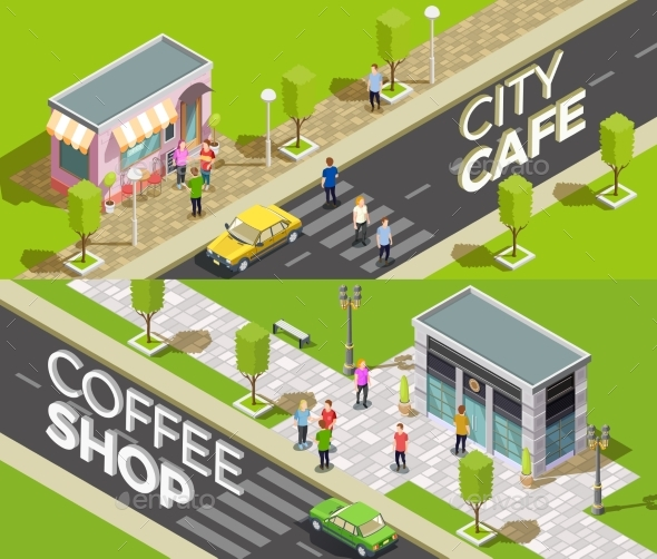 Urban Cafe Isometric Banners - Buildings Objects