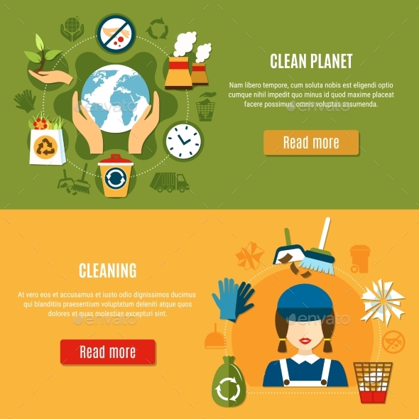 Green Planet Cleaning Banners - Miscellaneous Vectors