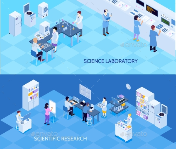 Science Laboratory Isometric Banners - Technology Conceptual