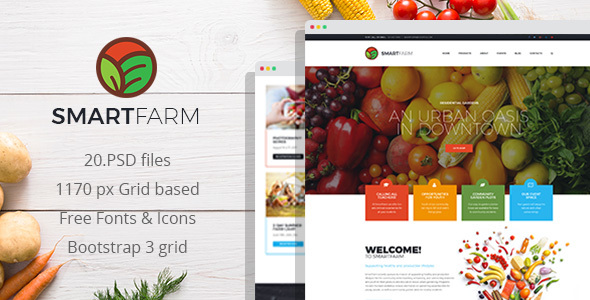 SmartFarm - Eco and Organic Gardening PSD Template