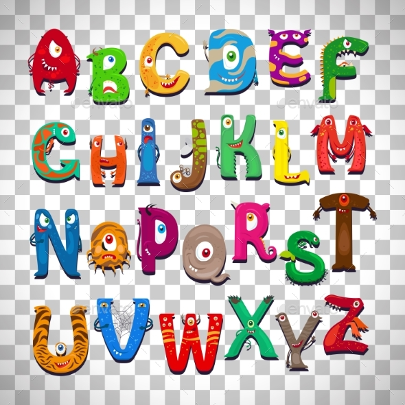 Monster Alphabet on Transparent Background - Animals Characters