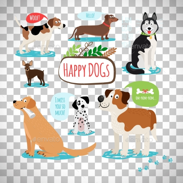 Cartoon Dogs on Transparent Background - Animals Characters
