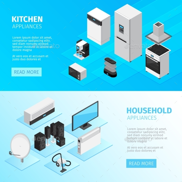 Household Appliances Horizontal Banners - Backgrounds Decorative