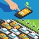 Mobile App Taxi Service Isometric Banners