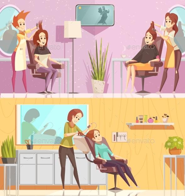 GraphicRiver Hair Salon Horizontal Cartoon Banners 20451290