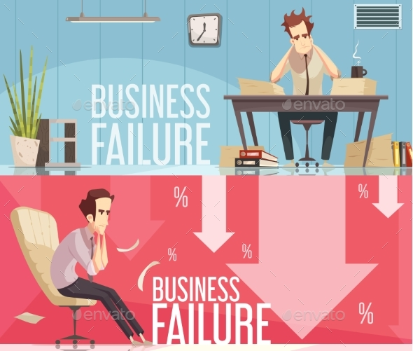 Business Failure 2 Retro Cartoon Posters - Business Conceptual
