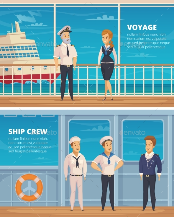 Ship Crew Characters Cartoon Banners - People Characters