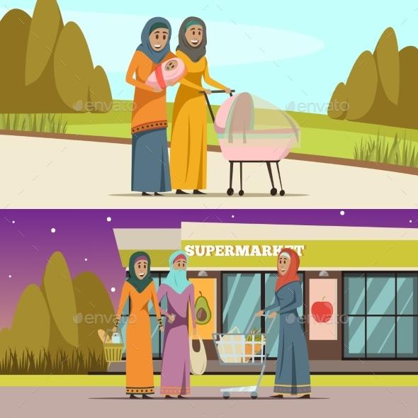 Arabic Woman Banners Set - Religion Conceptual