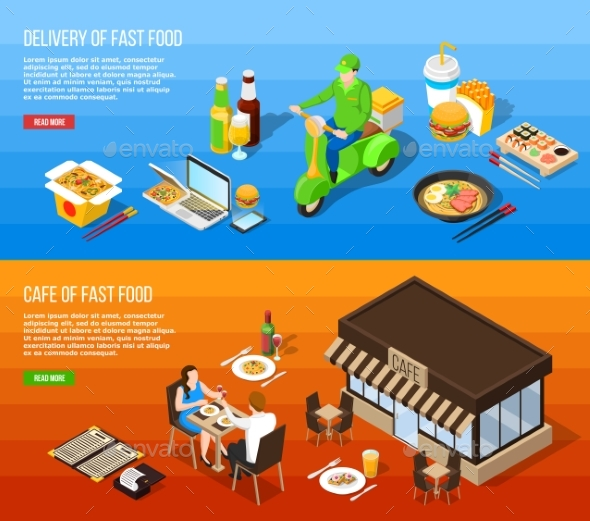 GraphicRiver Fast Food Delivery Isometric Horizontal Banners 20451302