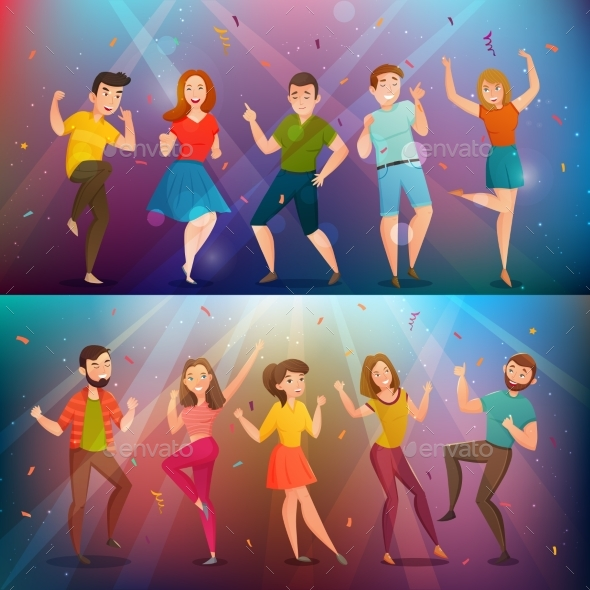 Dancing People Retro Banners Set - Man-made Objects Objects
