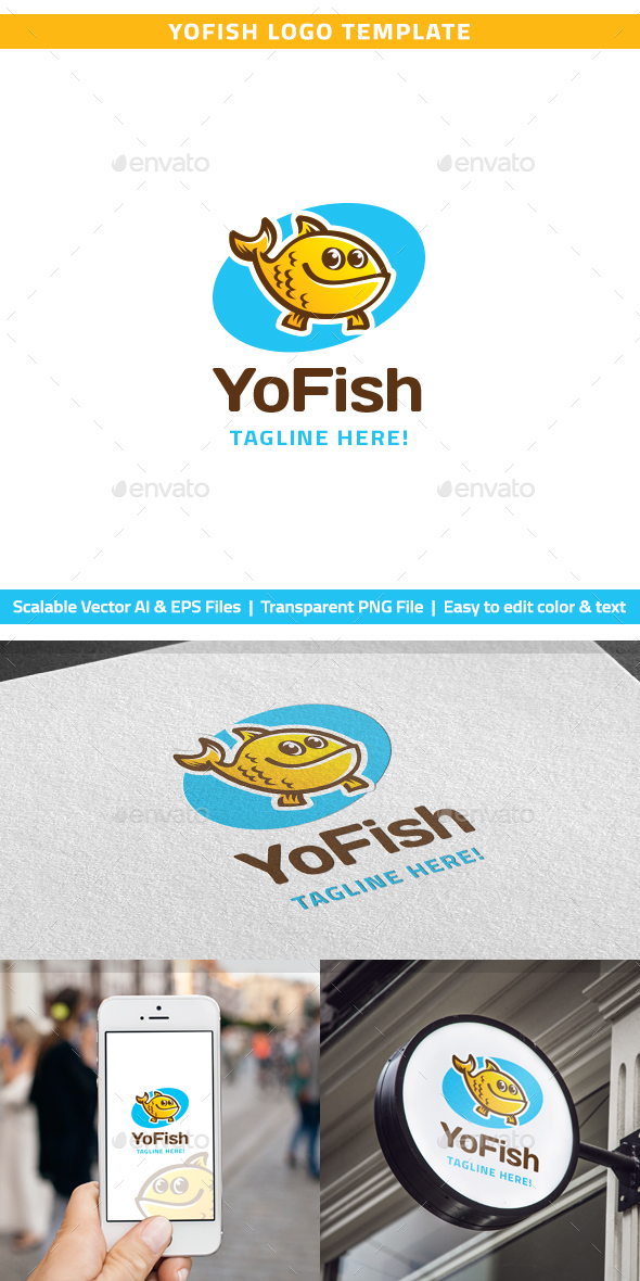 YoFish Logo - Animals Logo Templates
