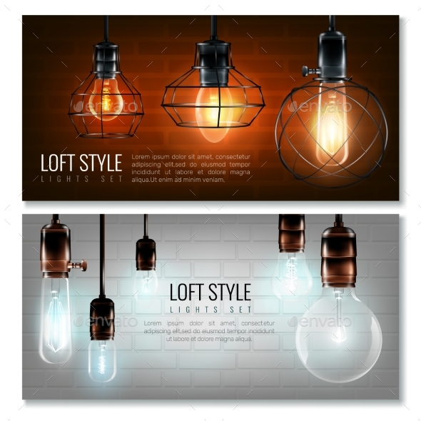 Glowing Light Bulbs Horizontal Banner Set - Objects Vectors