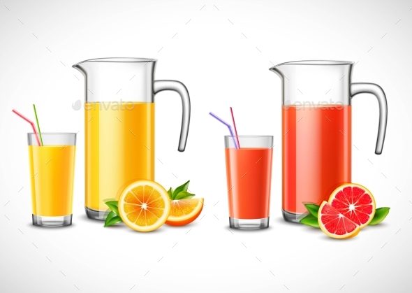 Jugs With Citrus Juice Illustration - Food Objects