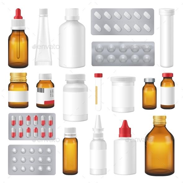 Pharmaceutical Bottles Packs Pills Realistic Set - Health/Medicine Conceptual