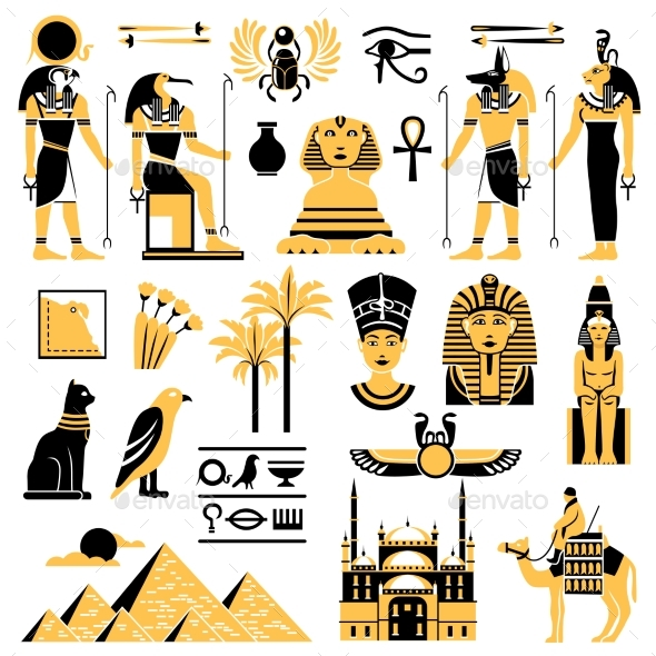 Egypt Symbols Decorative Icons Set - Miscellaneous Vectors