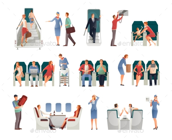 People In Airplane Set - Business Conceptual