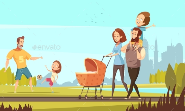 Family Outdoor  Retro Cartoon Illustration - People Characters