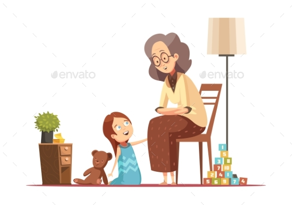 Grandmother With Child Retro Cartoon - People Characters
