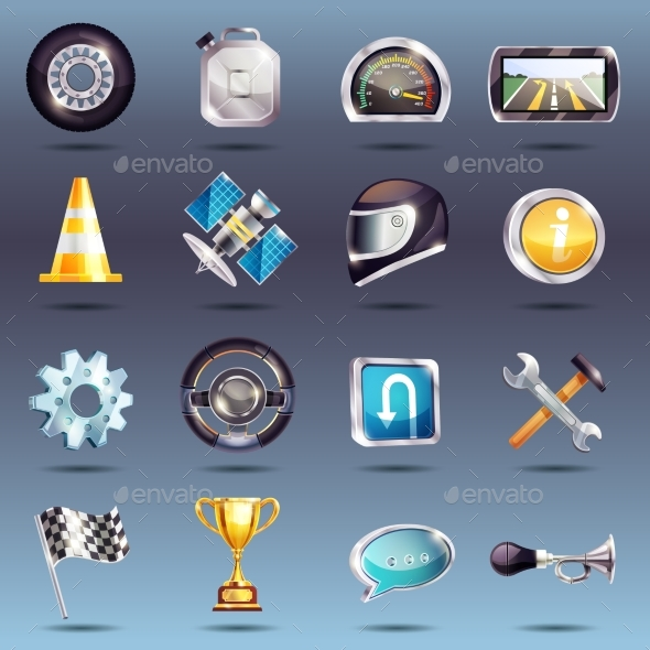 Auto Racing Icons Set - Man-made Objects Objects