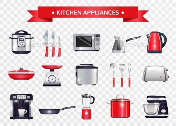 Kitchen Appliances Set - Objects Vectors