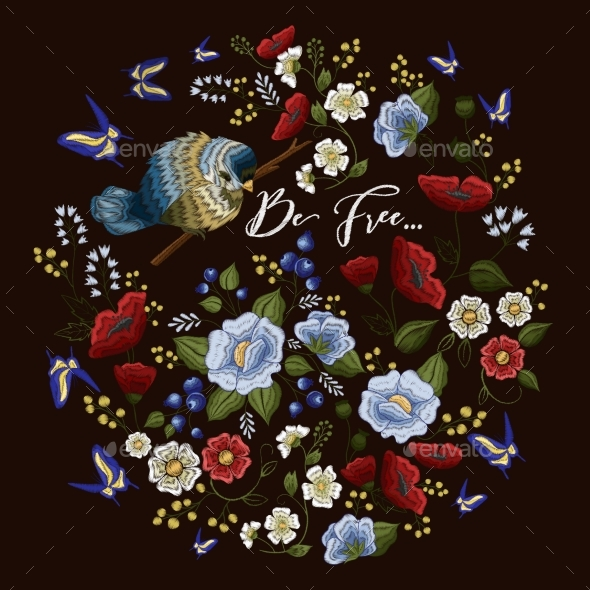 GraphicRiver Embroidery Colorful Floral Pattern 20451381