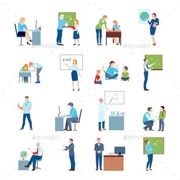 School College Teacher Flat Icons - Miscellaneous Vectors