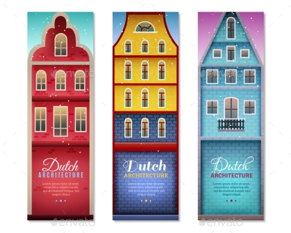 Dutch Houses Travel Vertical Banners - Buildings Objects