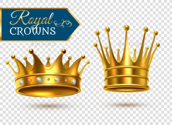 Realistic Gold Crowns Transparent Set - Backgrounds Decorative