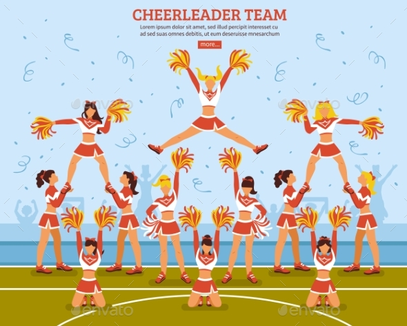 Cheerleader Team Stadium Flat Poster - Sports/Activity Conceptual