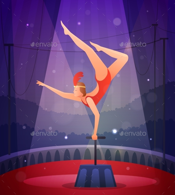 Slender Girl Performing Acrobatic Exercise - Seasons/Holidays Conceptual
