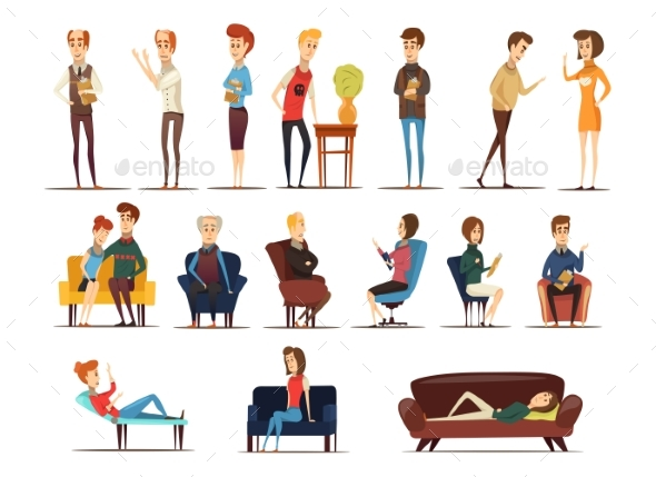 Visit To Psychologist Set - Health/Medicine Conceptual