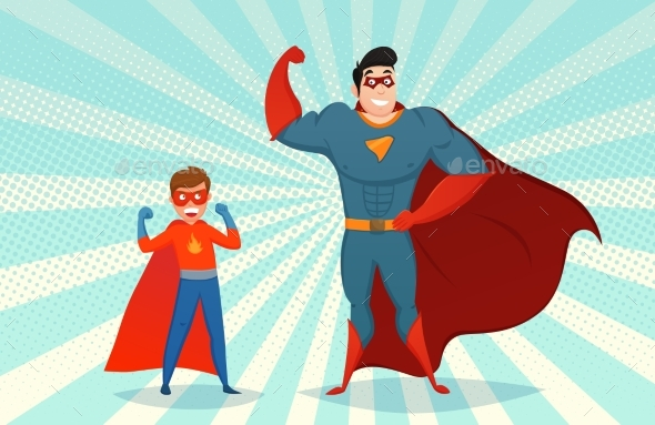 Man And Boy Superheroes Retro Illustration - People Characters