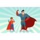 Man And Boy Superheroes Retro Illustration