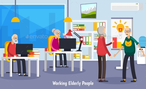 Aged Elderly People Orthogonal Concept - People Characters